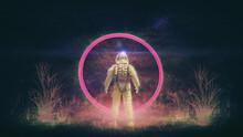 SPACE TRAVELER - ASTRONAUT | Neon Glowing Synthwave / Retro Banner [3D Render Illustration]   Sternenhimmel-Hintergrund - 8K
