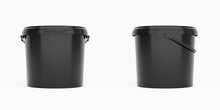 Black 5l Plastic Paint Can / Bucket / Container With Handle And No Label, Isolated On White Background.
