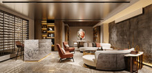 3d Render Of Club House And Society Interior