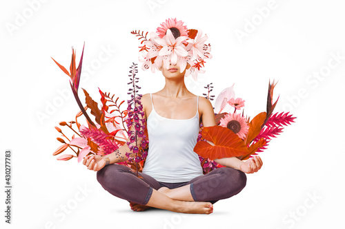 Obraz Abstract art design of young woman doing yoga with flowers around body - fototapety do salonu