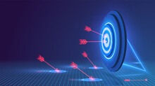 Darts Target. Success Business Concept. Target Hit In Center By Arrows, Future Technology. Multiple Fail Inaccurate Attempt Hit Goal. Symbolic Goals Achievement, Success, Victory. Vector