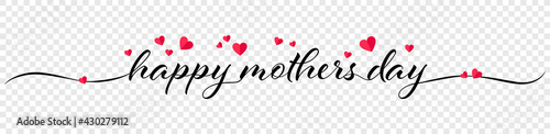 Fotomural Happy mothers day calligraphy banner illustration with hearts isolated