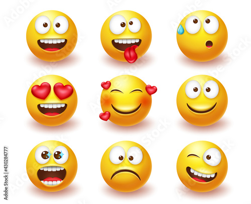 Smileys emoticon vector set. Smiley 3d emoji characters with expressions and emotions like happy, in love and crazy in yellow face icon for cute avatar character collection design. Vector illustration