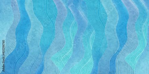 海 波 和柄 暑中見舞い - fototapety na wymiar