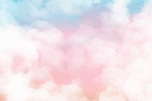 Hand Painted Watercolor Pastel Sky Cloud Background