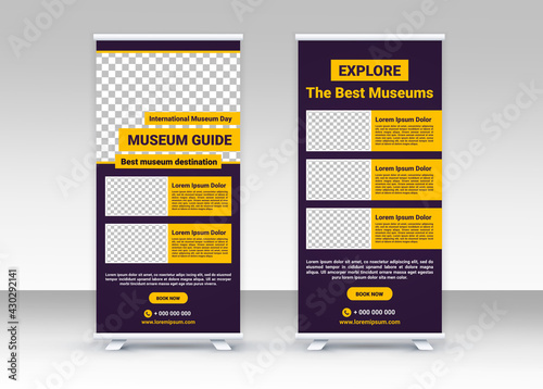 International Museum Day. Roll up banner. Standee banner design. Modern banner. Editable template. - fototapety na wymiar