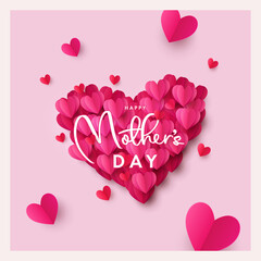 Happy Mothers Day greeting card or banner. Holiday background with big heart made of pink and red Origami Hearts on soft pink background. Design template for card, poster, holiday cover, social media