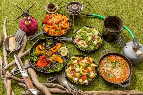 アウトドア キャンプ料理 Pasta cooking outdoors