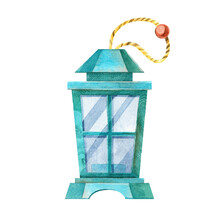 Turquoise Wooden Lantern. Lamp, Candle Holder Interior Decoration In The Scandinavian Style. Hand-drawn Watercolor Illustration, Isolated On A White Background. For Postcards, Posters, Stickers.