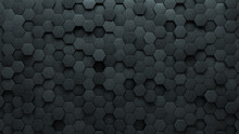 3D, Polished Wall Background With Tiles. Hexagonal, Tile Wallpaper With Futuristic, Concrete Blocks. 3D Render