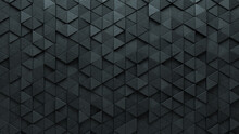 Concrete, Futuristic Wall Background With Tiles. Triangular, Tile Wallpaper With 3D, Polished Blocks. 3D Render