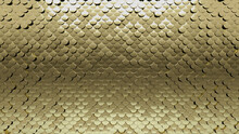 Glossy Tiles Arranged To Create A Fish Scale Wall. Luxurious, 3D Background Formed From Gold Blocks. 3D Render