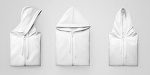 Mockup Of White Folded Hoodie With Zipper Closure, Drawstrings, Isolated On Background. Set