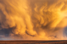 Mammatus Clouds At Sunset, Dramatic Storm Clouds