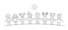 Funny Kids Holding Hands. Happy Doodle Children. Friendship Concept. Vector Illustration In Hand Drawn Style On White Background