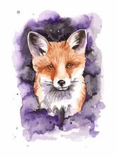 Portrait Of Red Fox On Watercolor Splash Background.