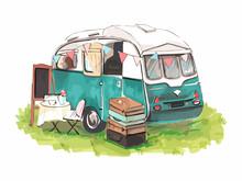House On Wheels. Hipster Watercolor Camper Van Or Trailer For Print Design. Watercolor Illustration. Vintage Print.