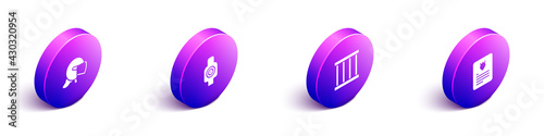 Set Isometric Police helmet, Human target sport for shooting, Prison window and The arrest warrant icon Fotobehang