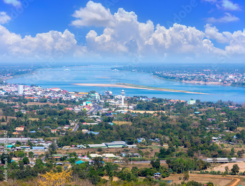 Panorama cityscape, River side of Ubon Ratchathani, Thailand - January 8, 2020