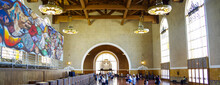 Famous Los Angeles Sightseeing City Skyline Landmark Union Train Station In Art Deco And Spanish Colonial Architecture Style Breathtaking Interiors And Palm Tree Courtyard Gardens With Columns Archway