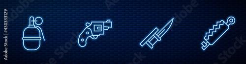 Fotografia Set line Bayonet on rifle, Hand grenade, Small gun revolver and Trap hunting