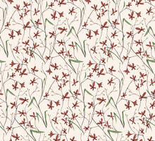 Abstract Floral Print With Many Small Red Flowers On A Light Background. Seamless Pattern. Ink Painting Imitation, Vector.