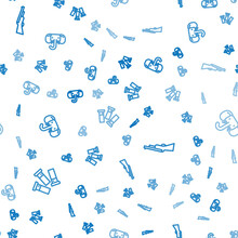 Set Line Cartridges, Hunting Gun And Elephant On Seamless Pattern. Vector