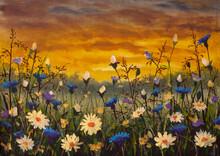 Original Oil Painting Of White Daisies Flower Blue Cornflowers Flowers, Beautiful Field Flowers On Canvas. Modern Impressionism. Impasto Artwork.