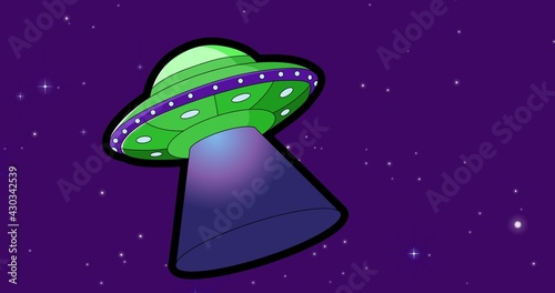 Composition of green and purple spaceship over stars on dark purple background