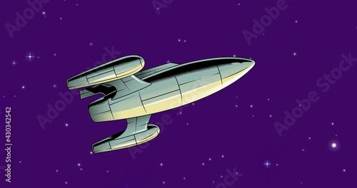 Composition of spaceship over stars on dark purple background