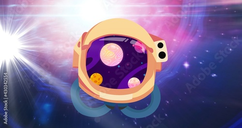 Composition of astronaut's helmet with planets over stars on pink to purple background