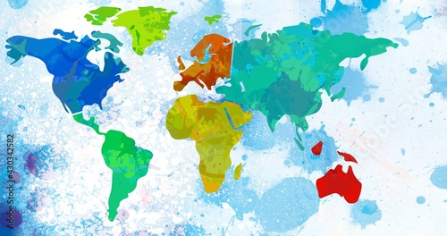 Composition of multi coloured world map over blue ink splodges on white background