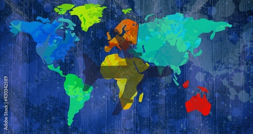 Composition of airplane shadow over multi coloured world map on dark blue splodgy background