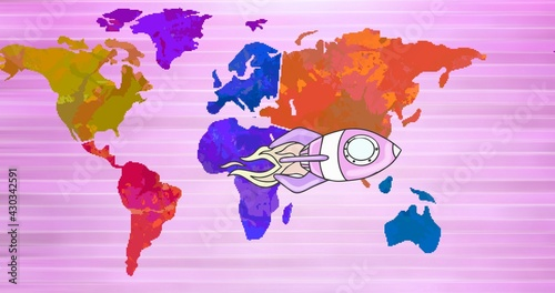 Composition of space rocket on multi coloured world map over pink stripes in background