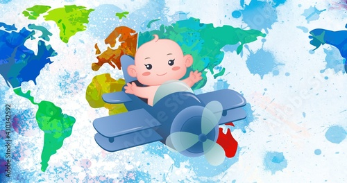 Composition of baby in airplane over multi coloured world map over blue ink splodges on white