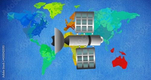 Composition of satellite on multi coloured world map over blue background