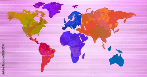 Composition of multi coloured world map over pink stripes in background