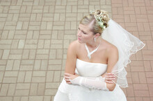 Young Beautiful Bride Waiting For Her Future Husband