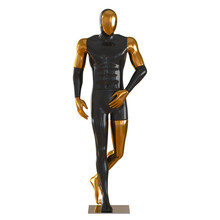 Black Gold Male Mannequin In Walking Man Pose On Isolated Background. 3d Rendering