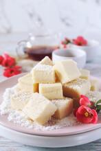 Apple Gelatin Dessert. Sugar Free Pastila. Homemade Apple Marshmallow Cubes In Coconut Flakes And Tea