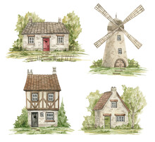 Watercolor Cute Rural Houses And Trees. Village Architecture Landmark, Old Buildings, Countryside Summer, Old European Wind Mill
