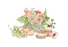 Watercolor Summer Bright Bouquet, Fruits. Rural Scene. Grapes, Peach, Cupcakes, Iris Flowers, Poppy, Ivy, Greenery. Summer Aesthetic