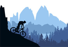 Silhouette Of Mountain Bike Rider In Wild Nature Landscape. Mountains, Forest And Lake In Background. Blue Illustration.
