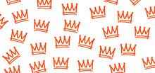 Sketch, Crown Line Patern. Verctor Cartoon Sign. Sketch Crown. Graffiti Crown Icon, Queen Or King Crowns. Orange Background.