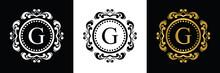 White And Black Letter G Template Logo Luxury Gold Letter. Monogram Alphabet . Beautiful Initials Letter.