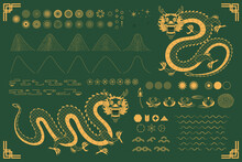 Chinese, Asian Dragon Traditional Oriental Gold Elements Collection, Clouds, Waves, Mountains, Fireworks, Flowers, Sun, Stars. Isolated On Green. Hand Drawn Vector Illustration. Eastern Style Line Art