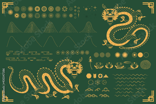 Fototapeta Chinese, Asian dragon traditional oriental gold elements collection, clouds, waves, mountains, fireworks, flowers, sun, stars