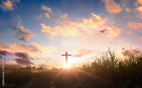 Fotografie, Obraz black cross religion symbol silhouette in grass over sunset sky background