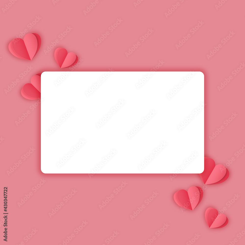 Fototapeta Pusta karta na pastelowym różowym tle w minimalistycznym stylu otoczona serduszkami. Zaproszenia ślubne, życzenia, tło dla social media stories, karta podarunkowa, voucher.