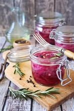 Pickled Red Onion Salad In Jars, Spices And Rosemary